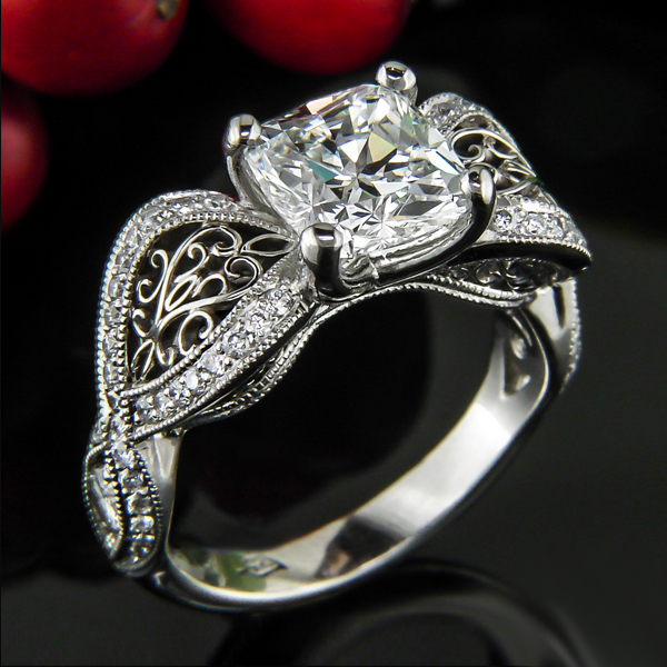 Vintage Style Cushion Cut Diamond Engagement Ring 925 Sterling Silver