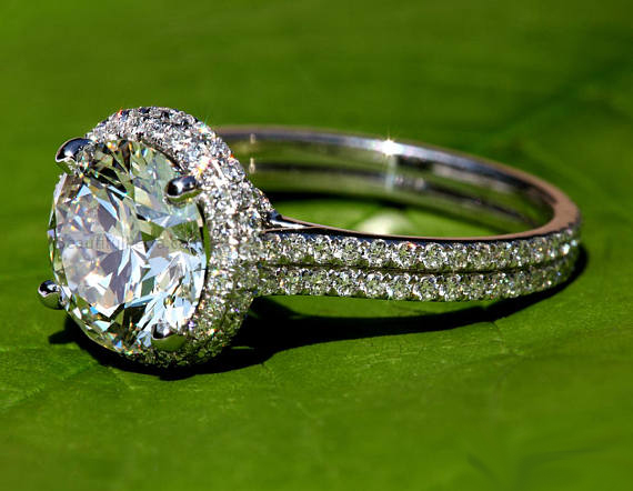 Double Shank Real White Moissanite Pave Beautiful Engagement Wedding Ring 925 Sterling Silver