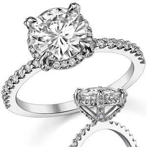 1.45Ct Brilliant Cut Moissanite Pave Bridal Engagement Ring 925 Sterling Silver