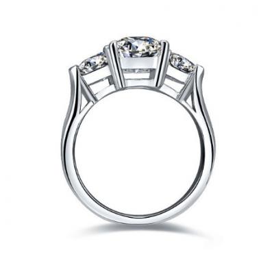 3 Stone Emerald & Side Trillion Cut Diamond Engagement & Wedding Ring 925 Sterling Silver