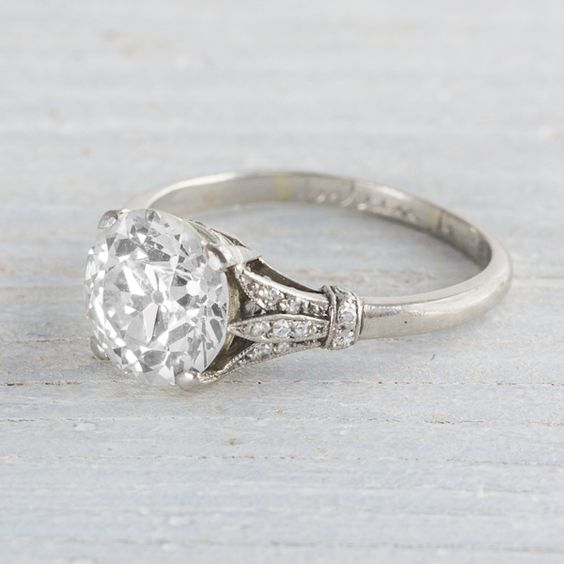 Off White Round Cut 1.75Ct Moissanite Art Deco Engagement Ring 925 Sterling Silver