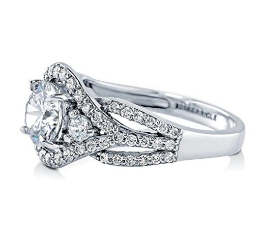 Brilliant Round Cut Moissanite Best Bridal Engagement Wedding Ring 925 Sterling Silver