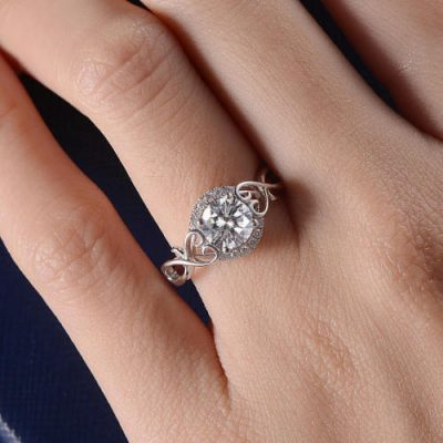 1.25Ct Round Moissanite Lovely Heart Engagement Anniversary Ring 925 Sterling Silver
