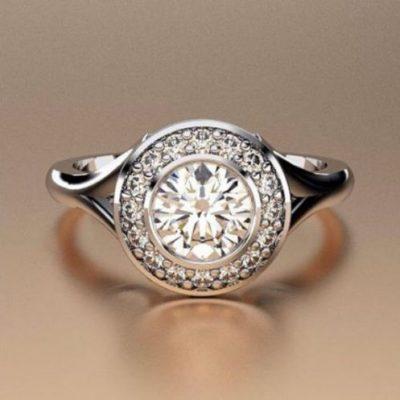 Bezel Set Round 1Ct Off White Moissanite Engagement Ring 925 Sterling Silver