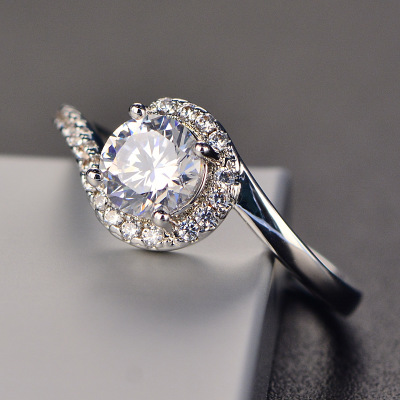1.38Ct Fancy Off White Moissanite Solitaire Engagement Ring 925 Sterling Silver