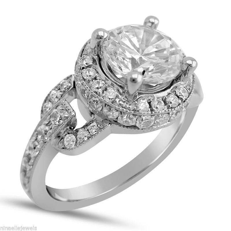 1.45Ct Unique Off White Moissanite Engagement Wedding Ring 925 Sterling Silver