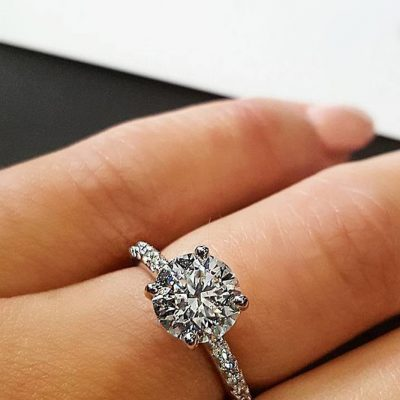 Huge 1.70Ct Near White Moissanite Solitaire Engagement Propose Ring 925 Sterling Silver