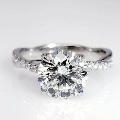 1.5Ct Solitaire Moissanite With Twist Shank Pave Diamond Engagement Ring 925 Silver