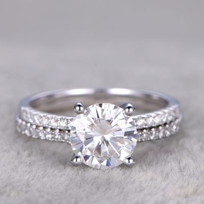 Brilliant 1.60Ct Round Moissanite Engagement Ring Bridal Matching Band Set 925 Silver