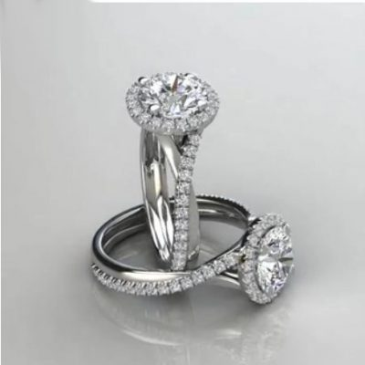 Twisted 1.35Ct Near White Moissanite Halo Engagement Anniversary Ring 925 Sterling Silver