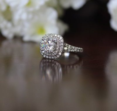 1.35Ct Unique Round Moissanite Bridal Wedding Ring Set 925 Sterling Silver