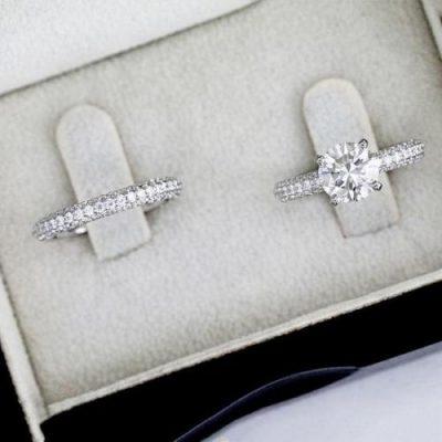 1.55Ct Real White Moissanite Beautiful Bridal Wedding Band Ring Set 925 Sterling Silver