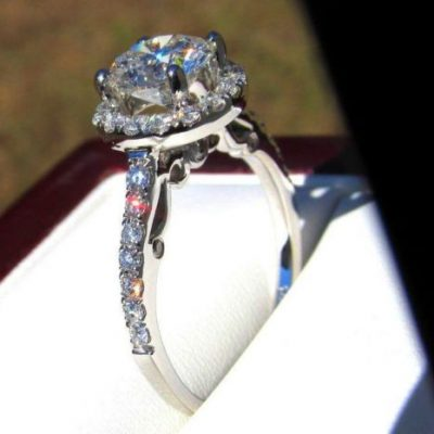 Solitaire 1.35Ct Real Moissanite Engagement Wedding Ring 925 Sterling Silver