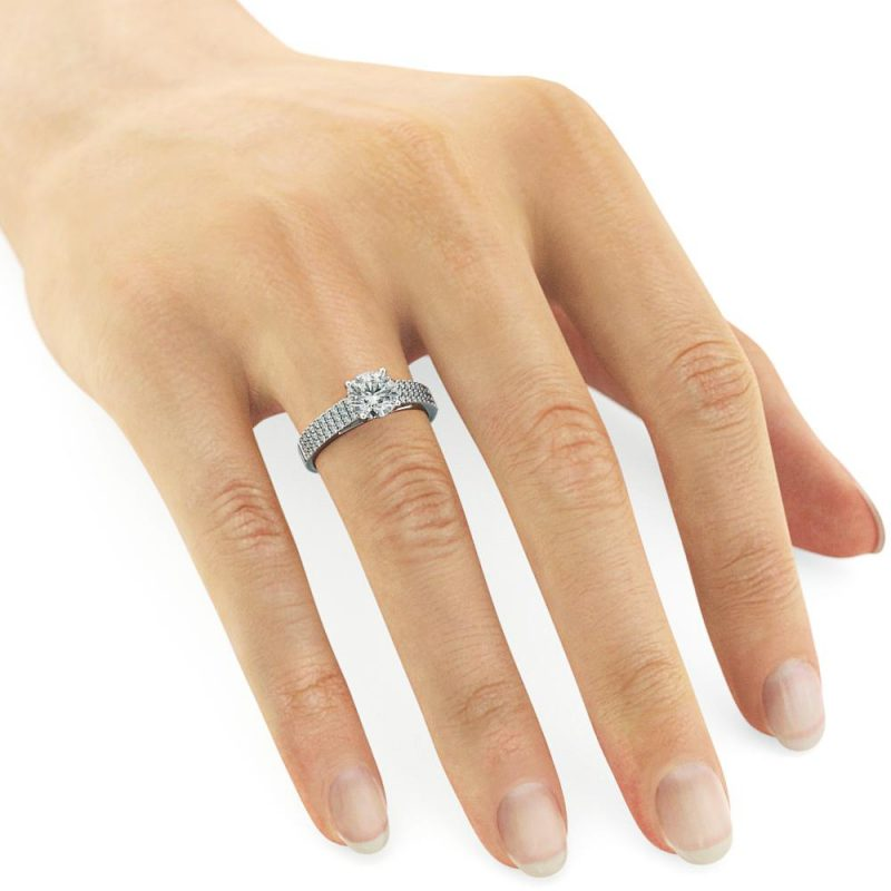 Brilliant Cut 1.60Ct Real White Moissanite Engagement Ring 925 Sterling Silver