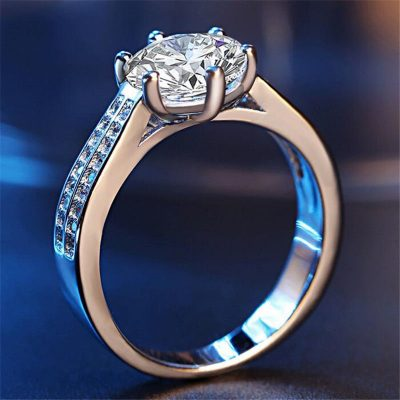Solitaire Round 1.45Ct Near White Moissanite Engagement Wedding Ring 925 Sterling Silver