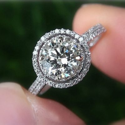 Brilliant Cut 1.75Ct Near White Moissanite Double Halo Engagement Ring 925 Silver