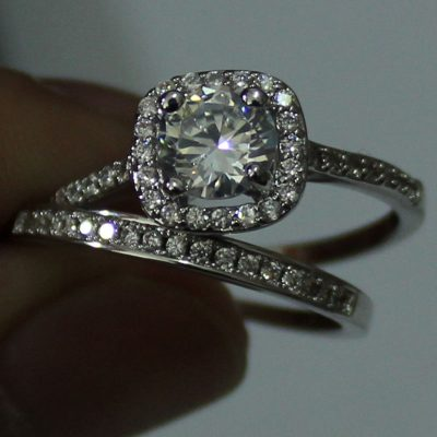 Excellent 1.30Ct Round Moissanite Bridal Wedding Band Ring Set 925 Sterling Silver