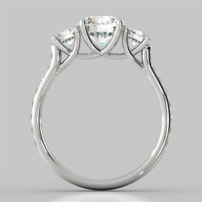 1.45Ct Near White Moissanite 3 Stone Engagement Anniversary Ring 925 Sterling Silver