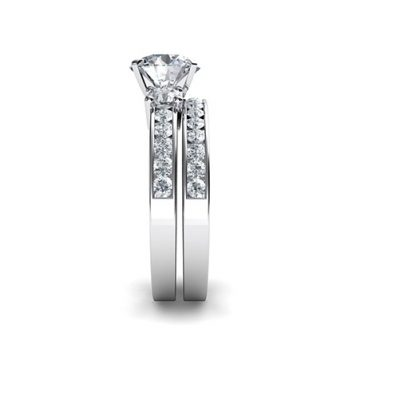 1.40Ct Brilliant Moissanite With Side Stone Bridal Wedding Ring Set 925 Sterling Silver