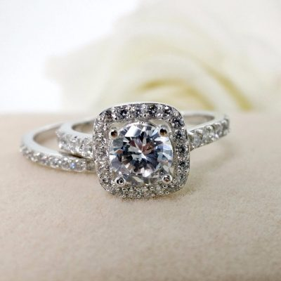 1.30Ct Near White Moissanite Halo Engagement Wedding Ring Set 925 Sterling Silver