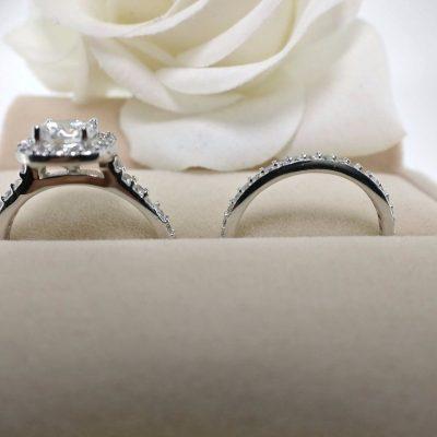 1.30Ct Near White Moissanite Halo Engagement Wedding Ring Set 925 Sterling Silver