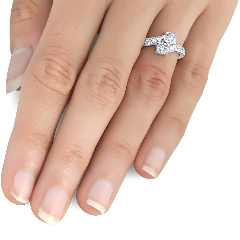 2 Stone Round Cut Off White Moissanite Engagement Ring 925 Sterling Silver