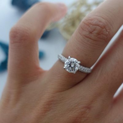 1.50Ct Solitaire Real Moissanite With Pave Diamond Enggement Ring 925 Sterling Silver