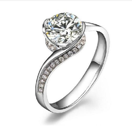 140Ct Near White Moissanite Dream Engagement Wedding Ring 925
