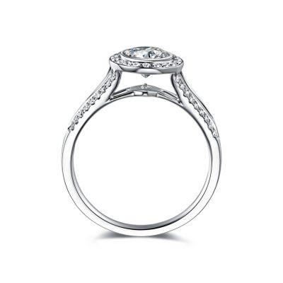 Bezel 1.28Ct Round Moissanite Split Shank Engagement Ring 925 Sterling Silver