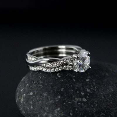 Forever 1.25Ct Moissanite Infinity Engagement Wedding Ring Set 925 Sterling Silver