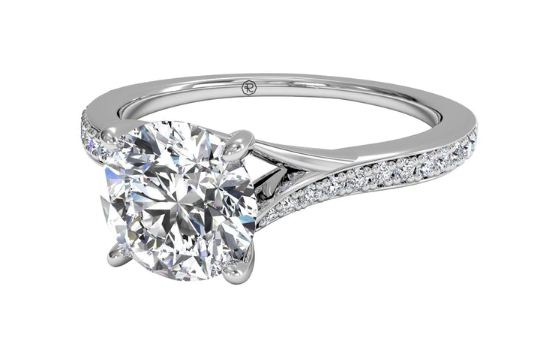 Fancy 1.50Ct Round  Moissanite Solitaire Engagement Ring 925 Sterling Silver