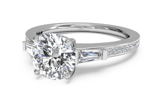 1.45Ct Round Cut Moissanite With Side Stone Engagement Ring 925 Sterling Silver