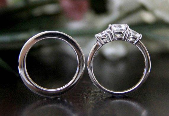 3 Stone 1.65CT Near White Moissanite Bridal Wedding Ring Set 925 Sterling Silver 1.65Ct