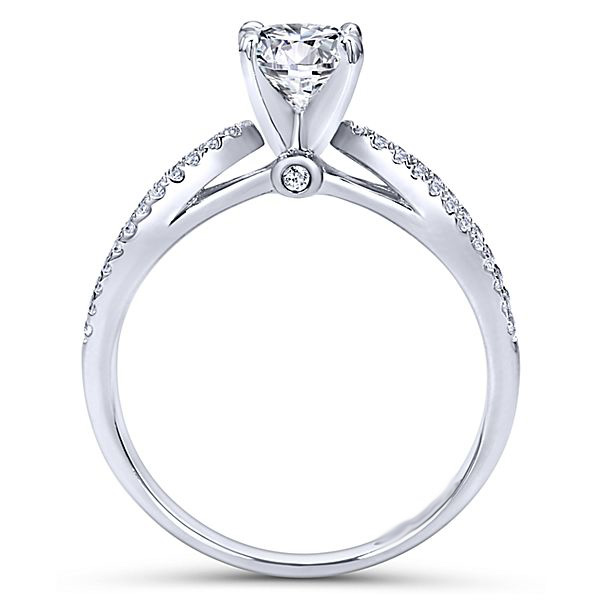 1.40Ct Round Cut Off White Moissanite Split Shank Engagement Ring 925 Sterling Silver