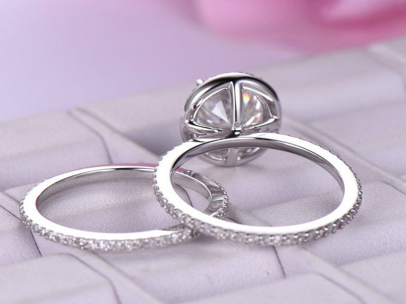 1.50Ct Round Cut Off White Moissanite Engagement Band Ring Set 925 Sterling Silver