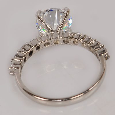Brilliant Cut 1.30Ct White Solitaire Moissanite Engagement Ring 925 Sterling Silver