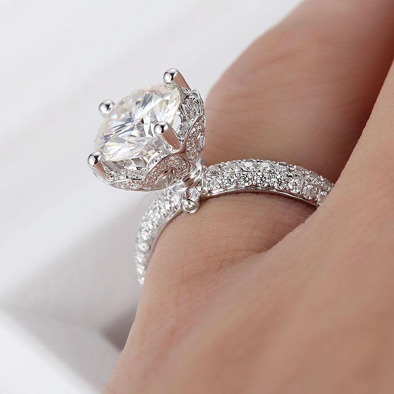 1.38Ct Real White Moissanite Lotus Flower Engagement Ring 14K White Gold