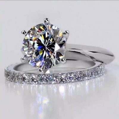 Solitaire 1.50Ct Near White Moissanite Engagement Matching Band Ring Set 14K White Gold