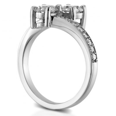 Forever 1.50Ct Round Cut Off White Moissanite 2 Stone Engagement Ring 14K White Gold