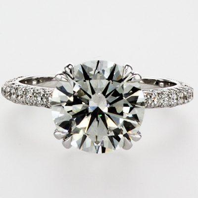1.60Ct Brilliant Cut Off White Moissanite Pave Bridal Wedding Ring 14K White Gold