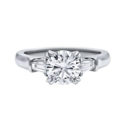 1.30Ct Off White Moissanite With Side Stone Engagement Ring 14K White Gold