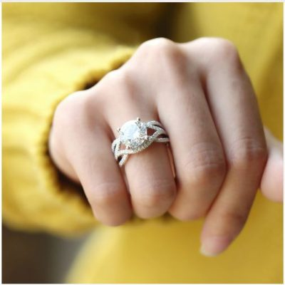 Twisted Bypass Brilliant Round Cut Diamond Engagement Ring 925 Sterling Silver
