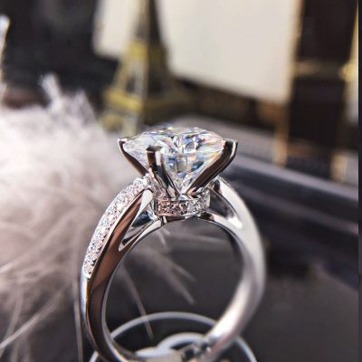 Certified 1.55Ct Near White Moissanite Engagement & Wedding Ring 14K White Gold