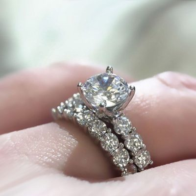 Certified 1.52Ct Real Moissanite Solitaire Engagement Ring Set 14K White Gold