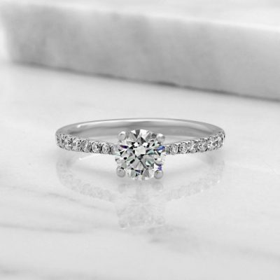 Certified 1.42Ct Off White Moissanite Under Halo Pave Engagement Ring 14K White Gold