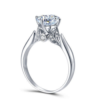 Certified 1.48ct Brilliant Cut Moissanite Natural Engagement Wedding Ring 14K White Gold