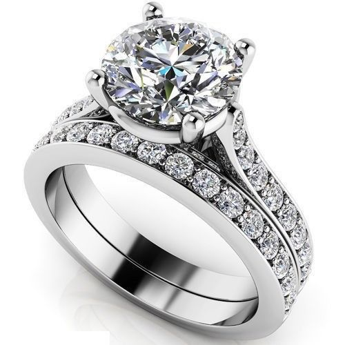 Solitaire 1.55Ct White Moissanite Braidal Wedding Ring Set Solid 14K White Gold