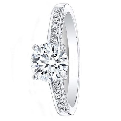 Certified 1.38Ct Round Cut Moissanite Engagement Wedding Ring Solid 14K White Gold