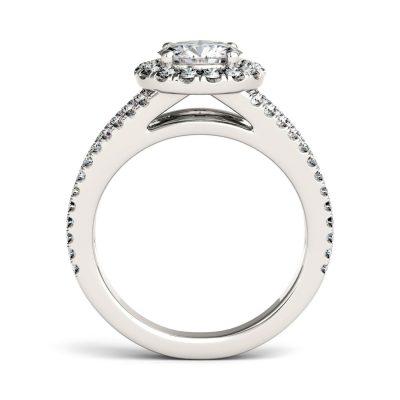 Certified 1.35Ct Real Moissanite Split Shank Engagement Wedding Ring Solid 14K White Gold