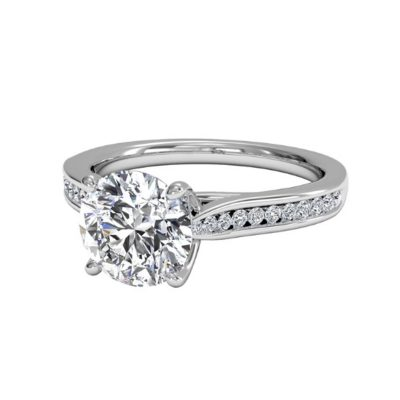 Certified 1.30Ct Off White Moissanite Simple Solitaire Engagement Ring 14K White Gold